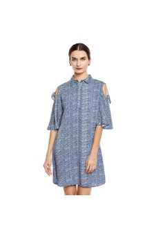 Printed Cold Shoulder Shirt Dress