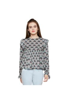 Printed Frilled Top