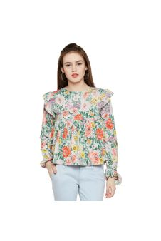 Floral Frilled Top
