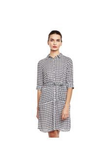Black & White Checkered Shirt Dress