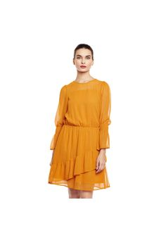 Mustard Flared Sheer Dress