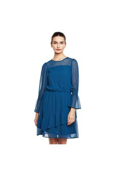 Blue Flared Sheer Dress