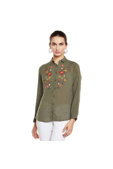 Olive Embroidered Shirt
