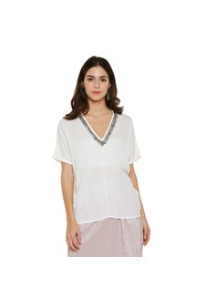 White Top With Beaded V-Neck