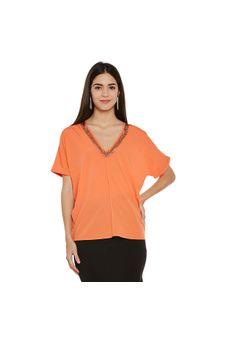 Orange Top With Beaded V-Neck