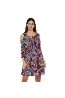 Multicolor Cold-Shoulder Dress