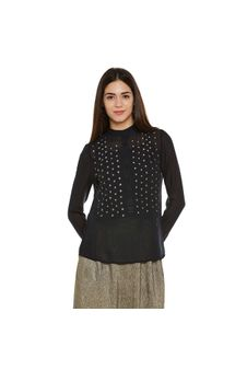 Navy Blue Sheer Embroidered Top