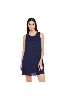 Navy Solid Night Wear Dress