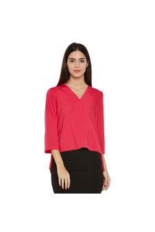 Pink Solid Wrap Top