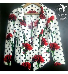 Floral Polka Jacket- Ships in 24 hrs