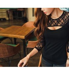 Lace Eye cut pattern black top - Ships in 24hrs