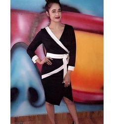 Cosmopolitan Black & White Sharp Office Formal Wear Slick Pencil Dress with Contrast Belt - Ships in 24 hrs
