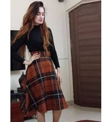 Stylish Solid Top With Plaid Skirt Two Piece Dress - Ships in 24 hrs