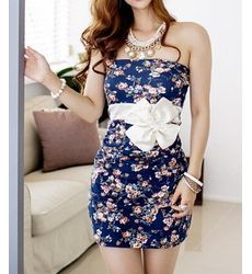 Party Floral Tube Dress with Bow - Ships in 24hrs
