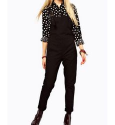 Dungaree Style Black Pant - Ships in 24hrs