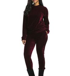 Casual Long Sleeve Velvet Leisure Sport Suits - Ships in 24 hrs