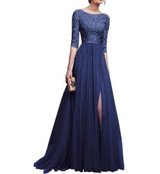 Charming 3/4 Sleeve Slit Patchwork Chiffon Evening Party Dress - Ships in 24 hrs