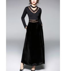 Classy Cosmoplitan Hollow Out Black Velvet Long Dress- Ships in 24 hrs