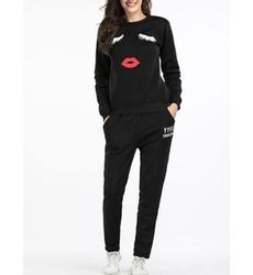 Cute Eyelashes and Lips Active wear Suit - Also in Plus Size - Ships in 24 hrs