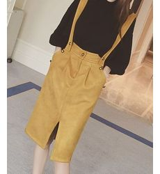 Suede Zipper Dungaree Skirt - Ships in 24hrs