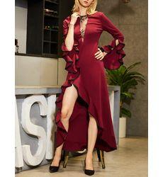 Diva Style Designer Deep V-Neck Flounced Asymmetrical Dress - Ships in 24 hrs