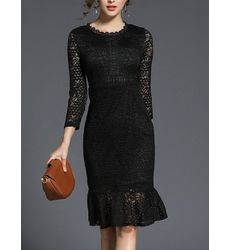 Elegant Fishtail Lace Black Wrap Dress - Ships in 24 hrs