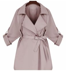 European Style Lapel Bandage Solid Coat - Ships in 24 hrs
