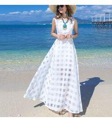 Classy Square Block Fabric Design Maxi Dress- Ships in 24 hrs