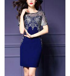 Vintage Style Embroidery O Neck Dress