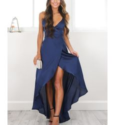 Blue Divalicious V Neck Solid Flare Maxi Gown Dress