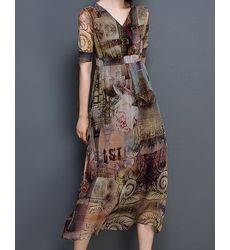 Latest Design VNeck Vintage Maxi Dress- Ships in 24 hrs