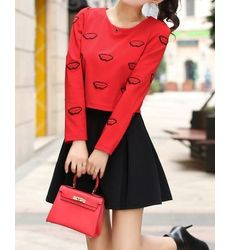 Cute Lips Print Top with Skirt- Ships in 24 hrs