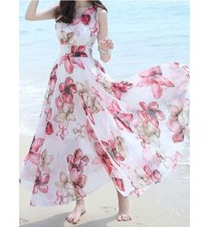 New Floral V Neck Bohemian Maxi Dress - Ships in 24 hrs