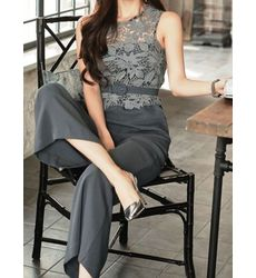 Sophisticated Lace Panel Grey Romper - Ships in 24 hrs