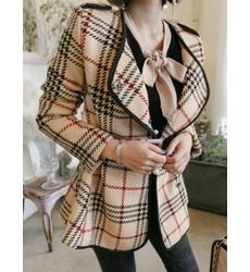 Premium Urbane Apricot Lapel Plaid Coat - Ships in 24 hrs