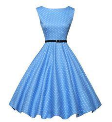 Euro Vintage Mini Blue Polka Dot Flare Dress - Ships in 24 Hrs