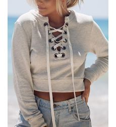 Boho Long Sleeve Drawstring Crop Top - Ships in 24 hrs