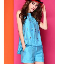 Junoesque Graceful Embroidery Top with Short Pants Women Suit - Ships in 24 hrs
