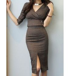 Sexy V Neck Fitted Plaid Two Piece Power Dress - Ships in 24 hrs