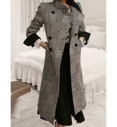 Suave Design Lapel Houndstooth Long Coat - Ships in 24 hrs