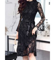 Black Suave Lace Overall Dress With Fluted Sleeve - Ships in 24 hrs