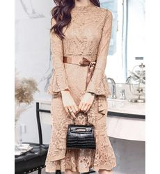Champagne Brown Suave Lace Overall Dress With Fluted Sleeve - Ships in 24 hrs