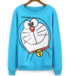 Cartoon Print Loose Blue Sweatshirt- Ships in 24 hrs