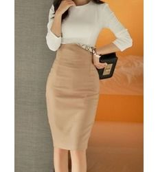 Sophisticated Crew Neck Top With Solid Skirt - Ships in 24 hrs