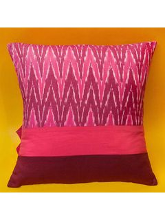 Pink ikat cushion cover