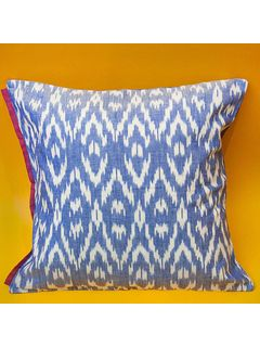 Blue Ikat cushion cover