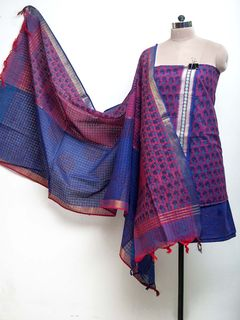 Purple Block Printed Kurta Salwar with Cotton Zari Dupatta - set of 3