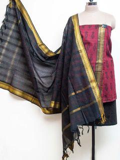Magenta Block Printed Kurta Salwar with Cotton Zari Dupatta - set of 3