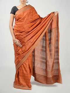 Brick Orange Ikat Saree