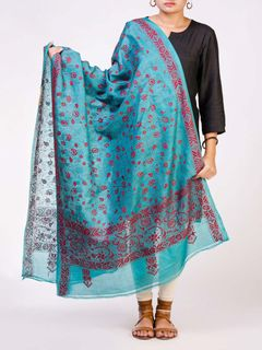Green Tusser Silk Dupatta with Kantha Wok